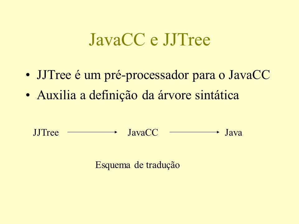 JavaCC e JJTree JJTree é um pré-processador para o JavaCC