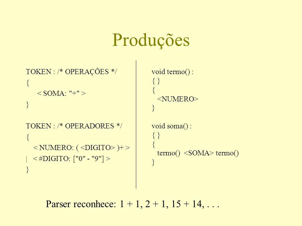Produções Parser reconhece: 1 + 1, 2 + 1, 15 + 14, . . .