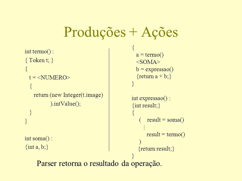 Produções + Ações Parser retorna o resultado da operação. {