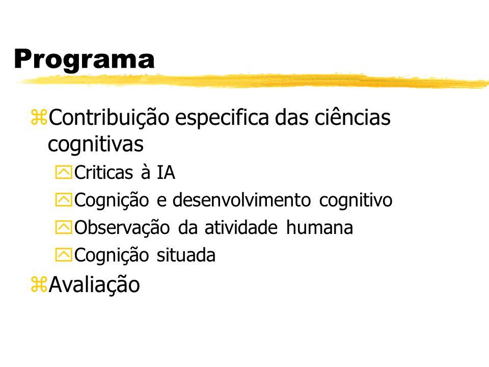Programa Contribuição especifica das ciências cognitivas Avaliação