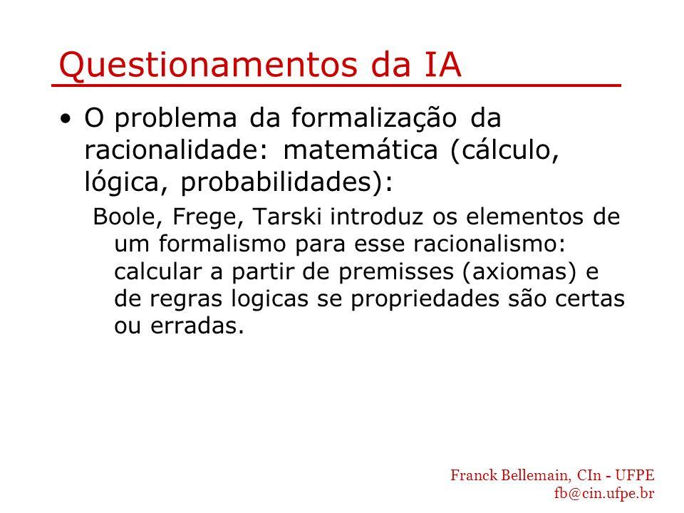 Questionamentos da IA O problema da formalização da racionalidade: matemática (cálculo, lógica, probabilidades):