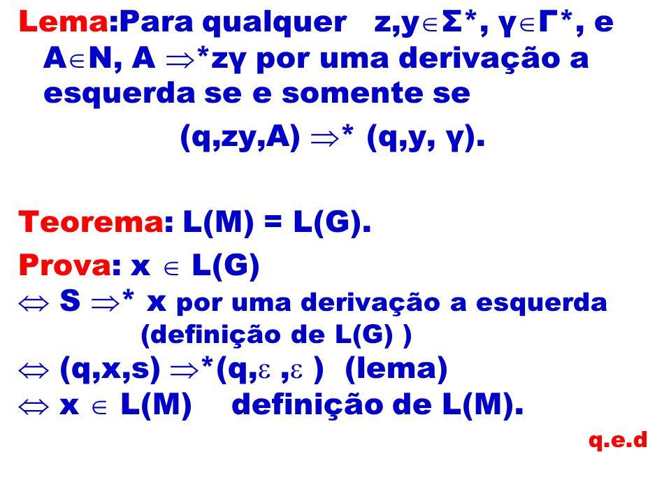  S * x por uma derivação a esquerda  (q,x,s) *(q, , ) (lema)