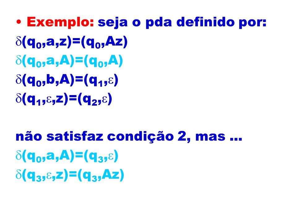 Exemplo: seja o pda definido por: