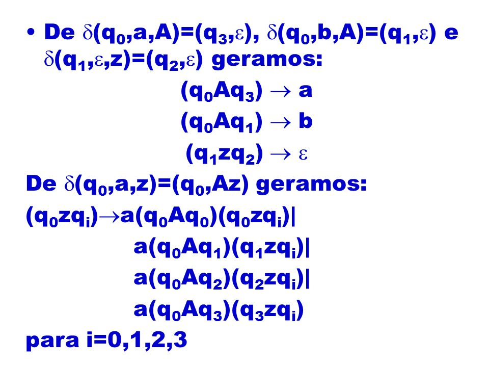 De (q0,a,A)=(q3,), (q0,b,A)=(q1,) e (q1,,z)=(q2,) geramos: