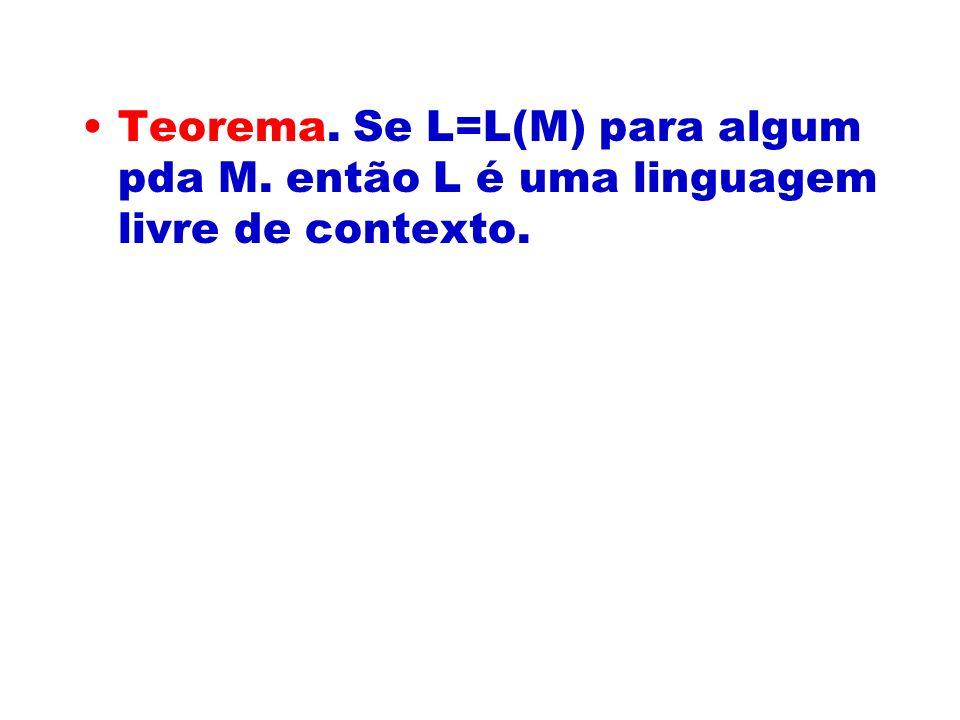 Teorema. Se L=L(M) para algum pda M