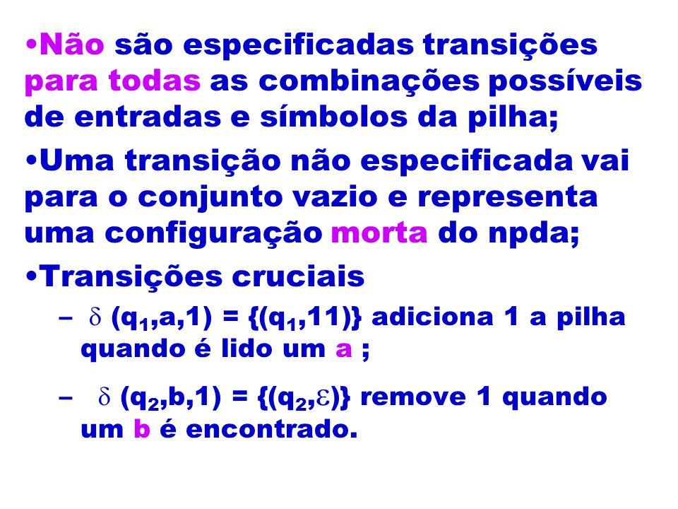 Não são especificadas transições para todas as combinações possíveis de entradas e símbolos da pilha;