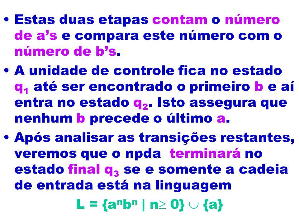 Estas duas etapas contam o número de a's e compara este número com o número de b's.