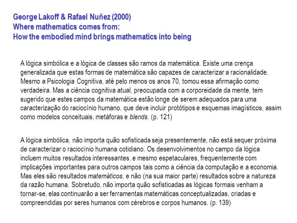 George Lakoff & Rafael Nuñez (2000) Where mathematics comes from:
