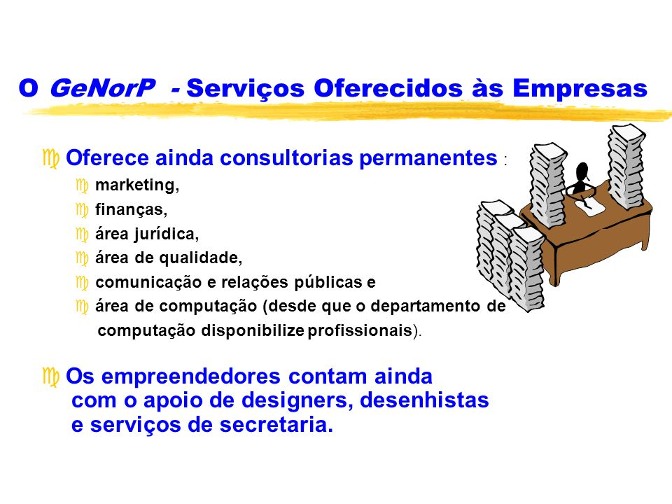 O GeNorP - Serviços Oferecidos às Empresas