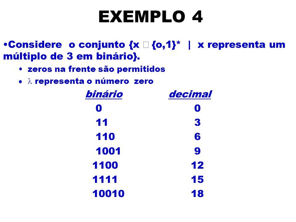 EXEMPLO 4Considere o conjunto {x Î {o,1}* | x representa um múltiplo de 3 em binário}. zeros na frente são permitidos.