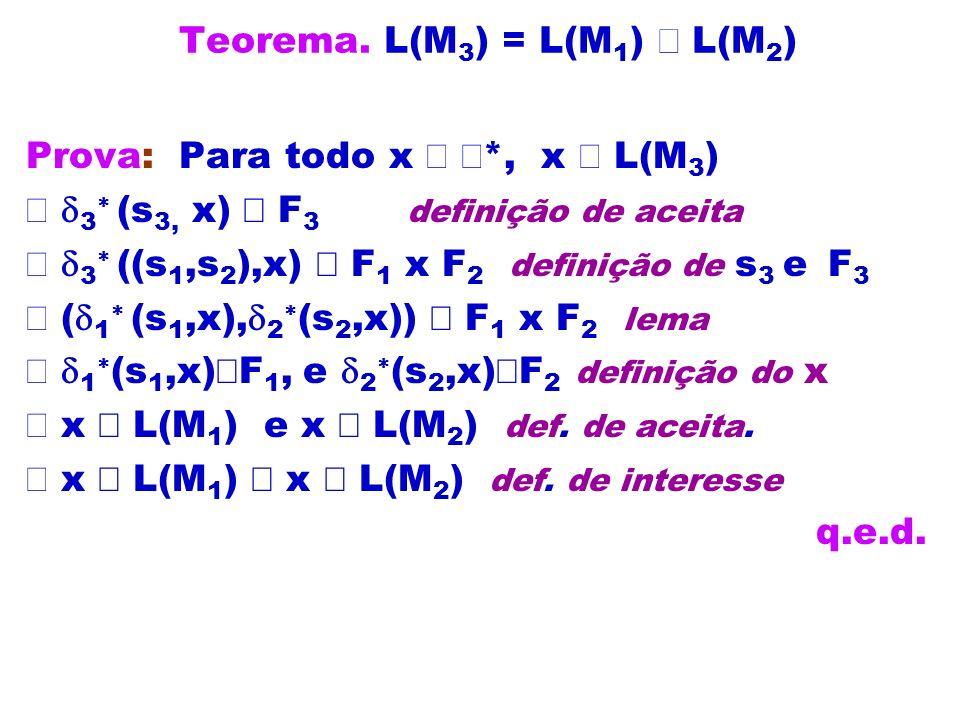 Teorema. L(M3) = L(M1) Ç L(M2)