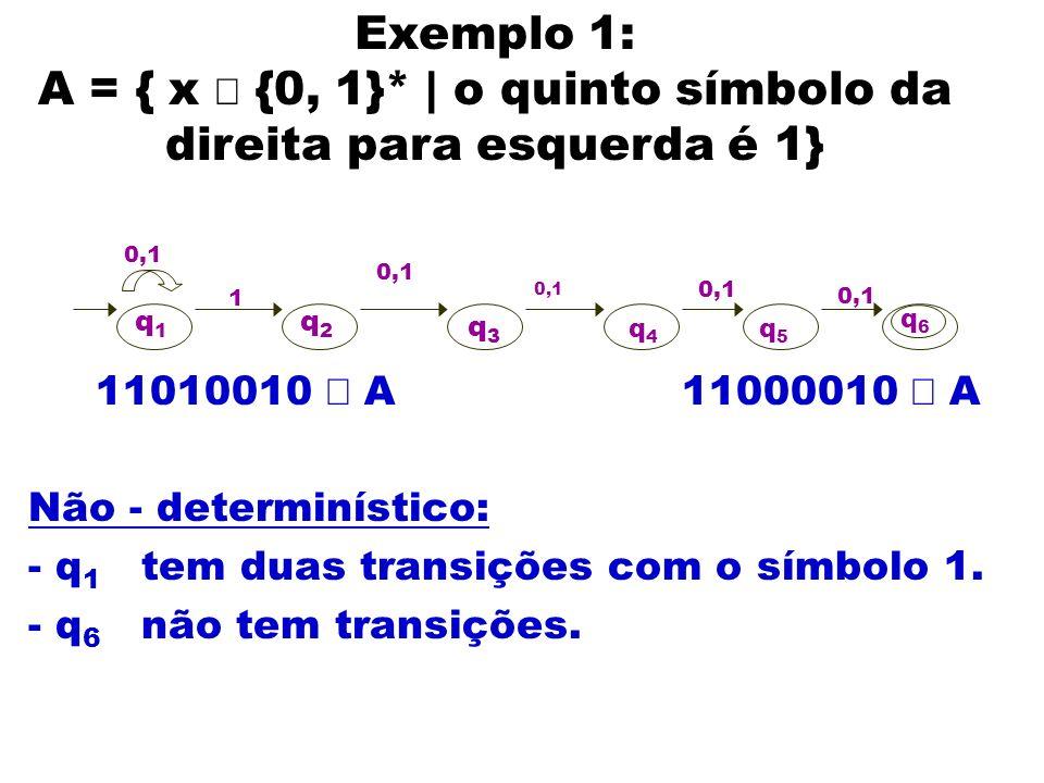 A = { x Î {0, 1}* | o quinto símbolo da direita para esquerda é 1}
