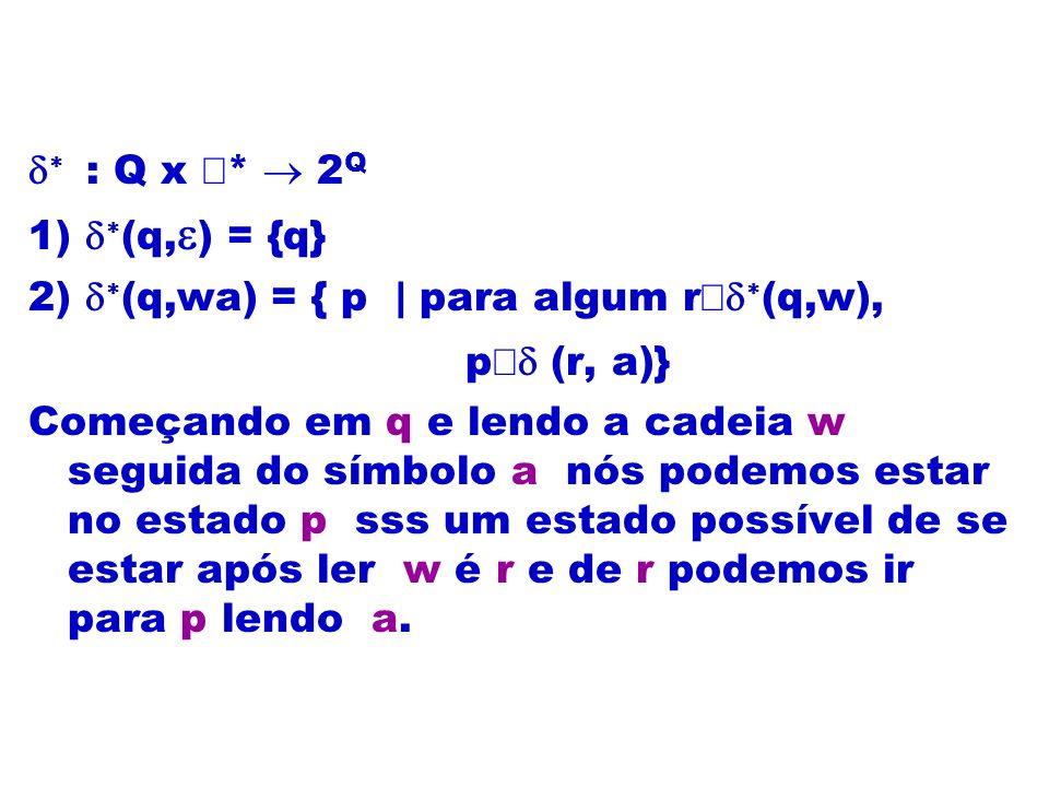 d* : Q x å* ® 2Q 1) d*(q,e) = {q} 2) d*(q,wa) = { p | para algum rÎd*(q,w), pÎd (r, a)}