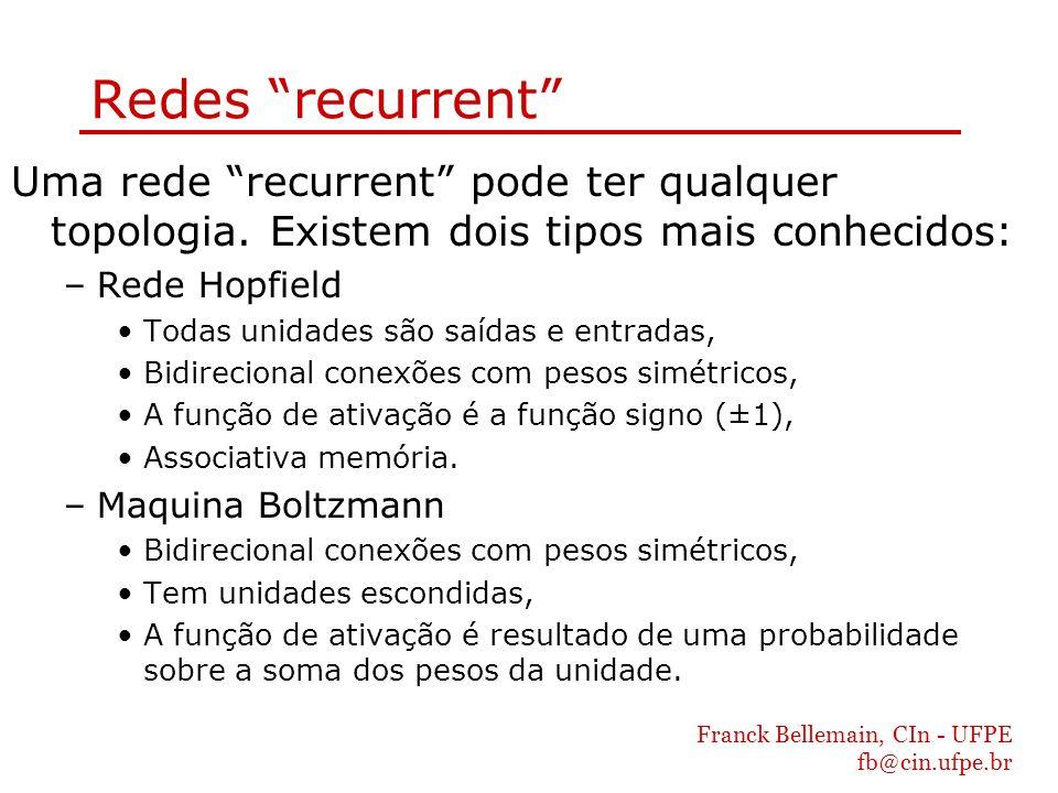 Redes recurrent Uma rede recurrent pode ter qualquer topologia. Existem dois tipos mais conhecidos: