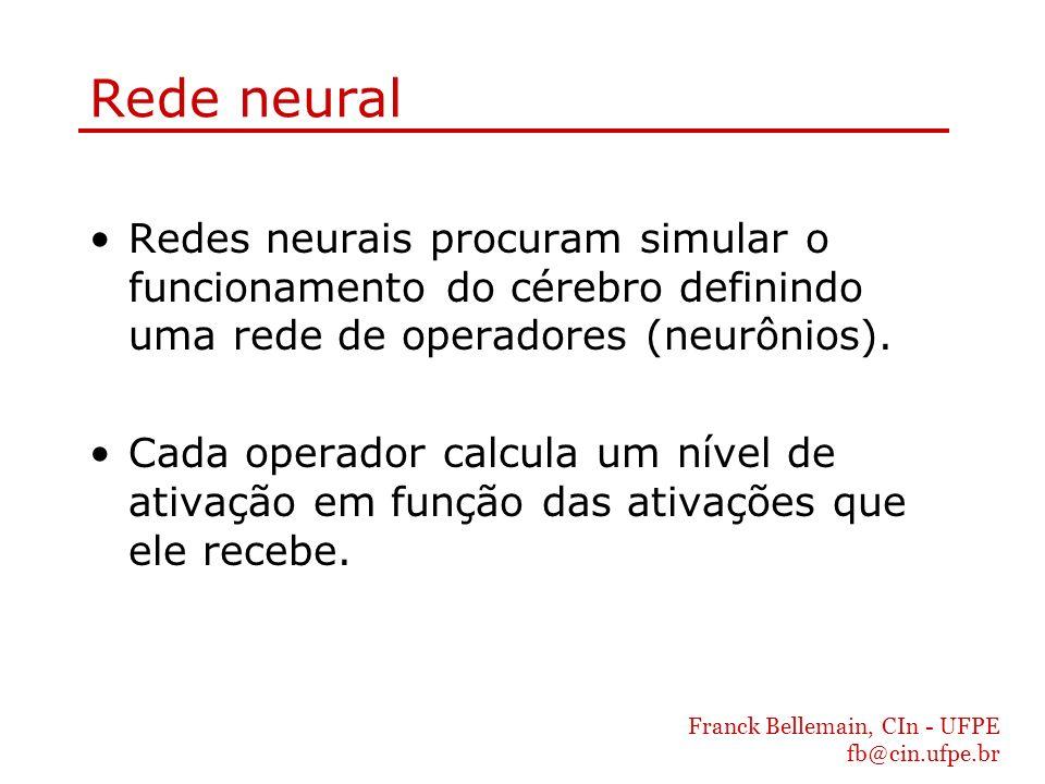 Rede neural Redes neurais procuram simular o funcionamento do cérebro definindo uma rede de operadores (neurônios).