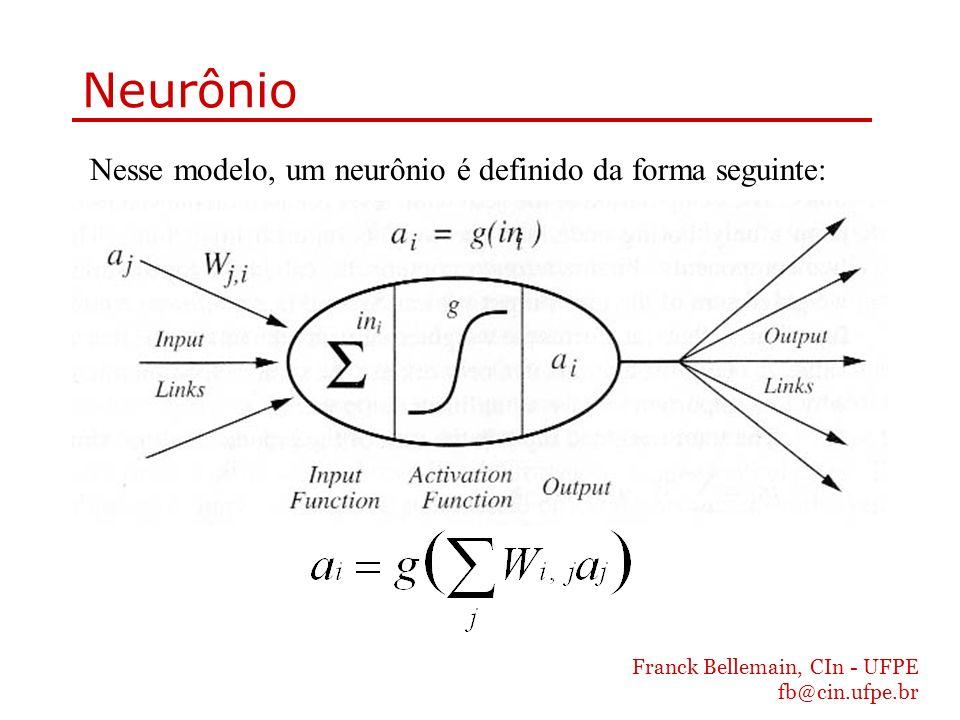 Neurônio Nesse modelo, um neurônio é definido da forma seguinte: