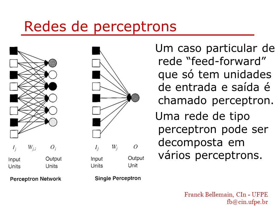 Redes de perceptrons Um caso particular de rede feed-forward que só tem unidades de entrada e saída é chamado perceptron.