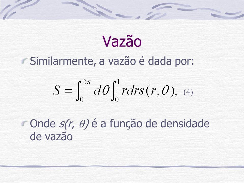 Vazão Similarmente, a vazão é dada por:
