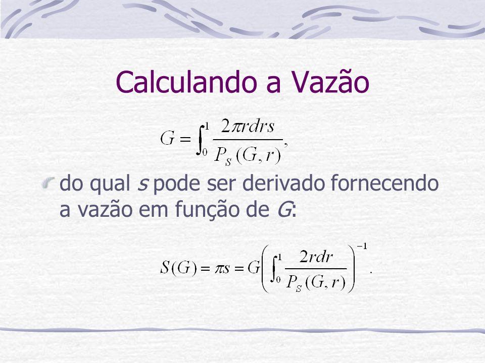 Calculando a Vazão do qual s pode ser derivado fornecendo a vazão em função de G: