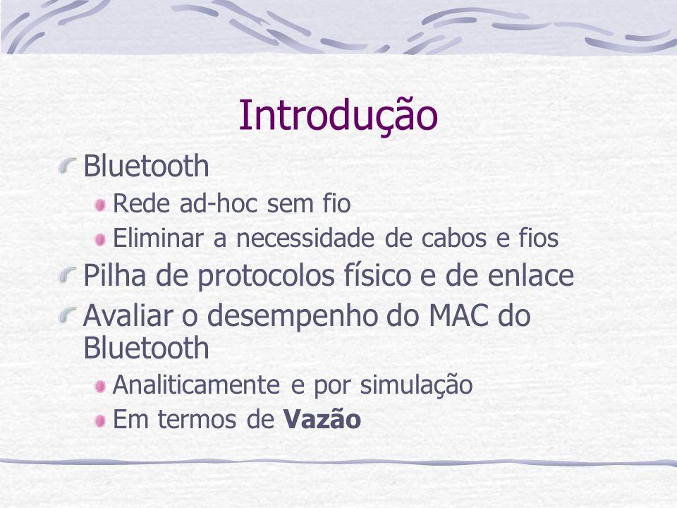 Introdução Bluetooth Pilha de protocolos físico e de enlace