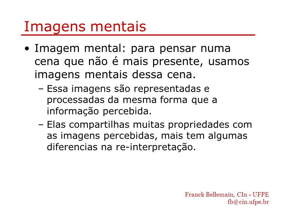 Imagens mentais Imagem mental: para pensar numa cena que não é mais presente, usamos imagens mentais dessa cena.