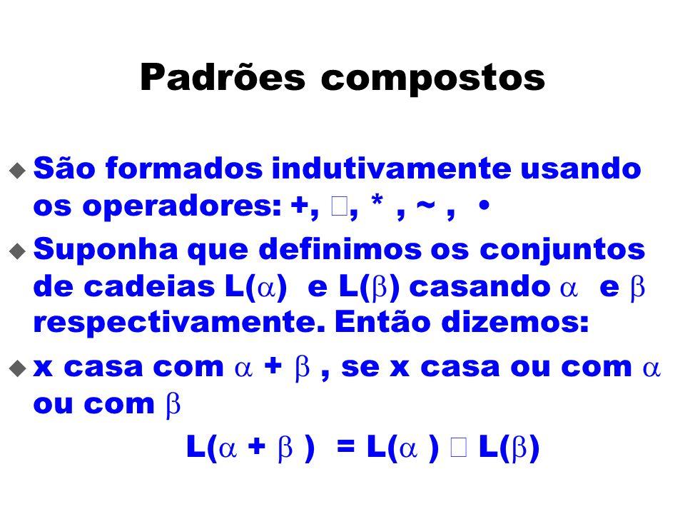 Padrões compostos São formados indutivamente usando os operadores: +, Ç, * , ~ , •