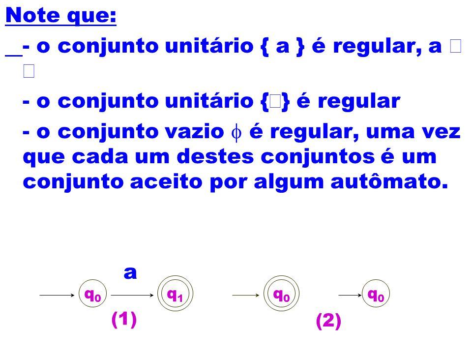 - o conjunto unitário { a } é regular, a Î å