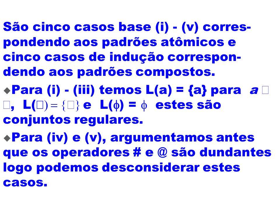 São cinco casos base (i) - (v) corres-pondendo aos padrões atômicos e cinco casos de indução correspon-dendo aos padrões compostos.