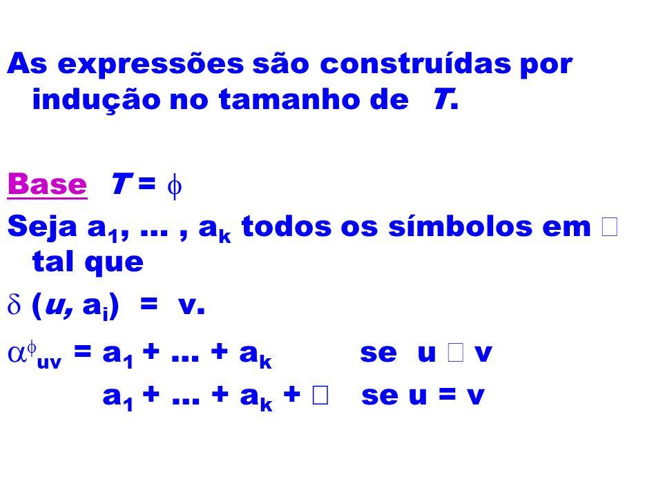 As expressões são construídas por indução no tamanho de T.