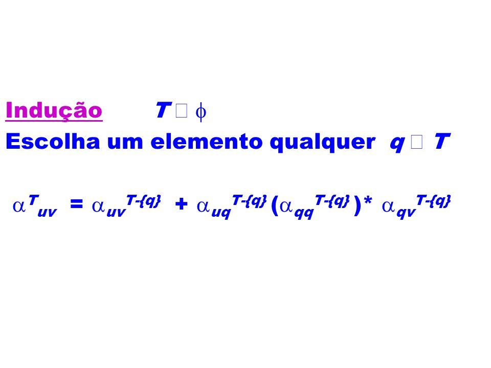 Indução T ¹ f Escolha um elemento qualquer q Î T.