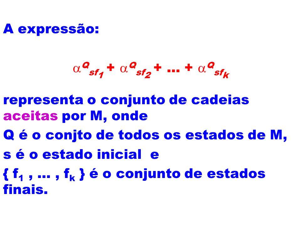 A expressão: aQsf1 + aQsf2 + … + aQsfk. representa o conjunto de cadeias aceitas por M, onde. Q é o conjto de todos os estados de M,