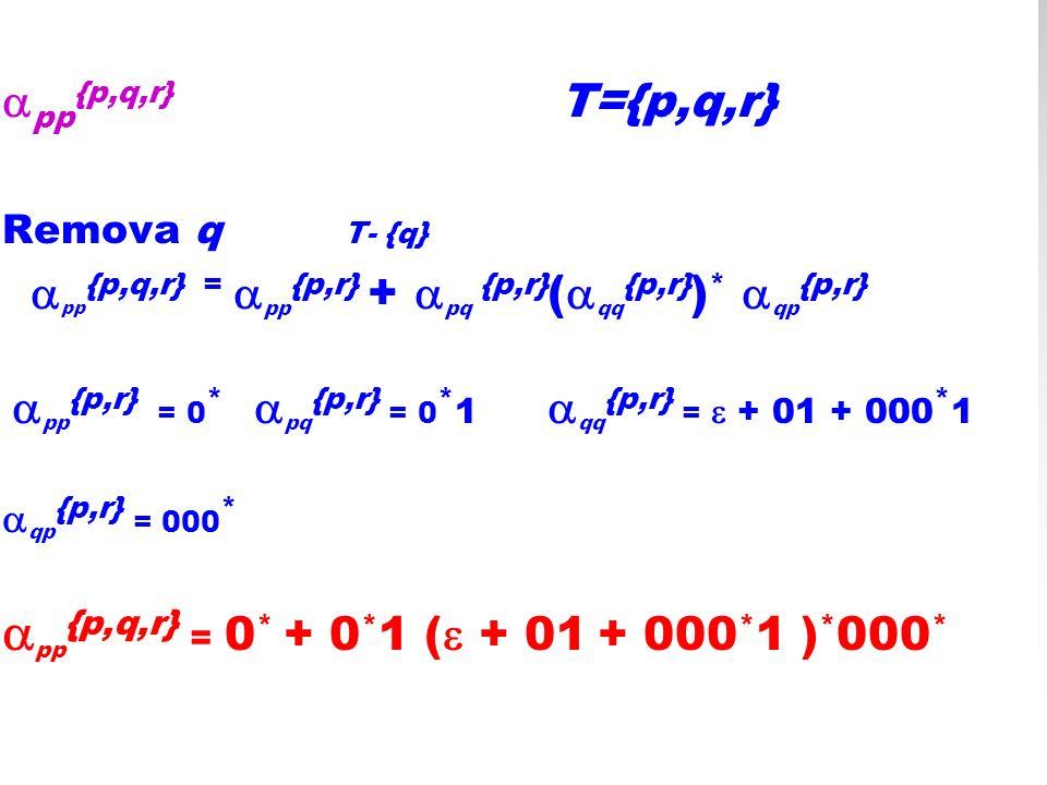 pp{p,q,r} = 0* + 0*1 ( + 01 + 000*1 )*000*