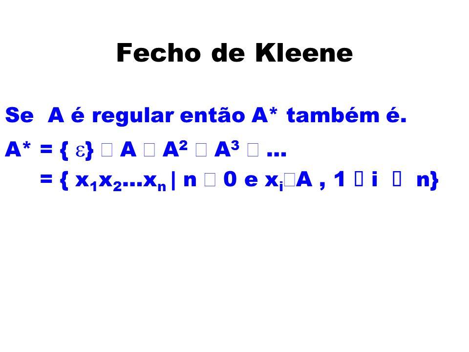 Fecho de Kleene Se A é regular então A* também é.