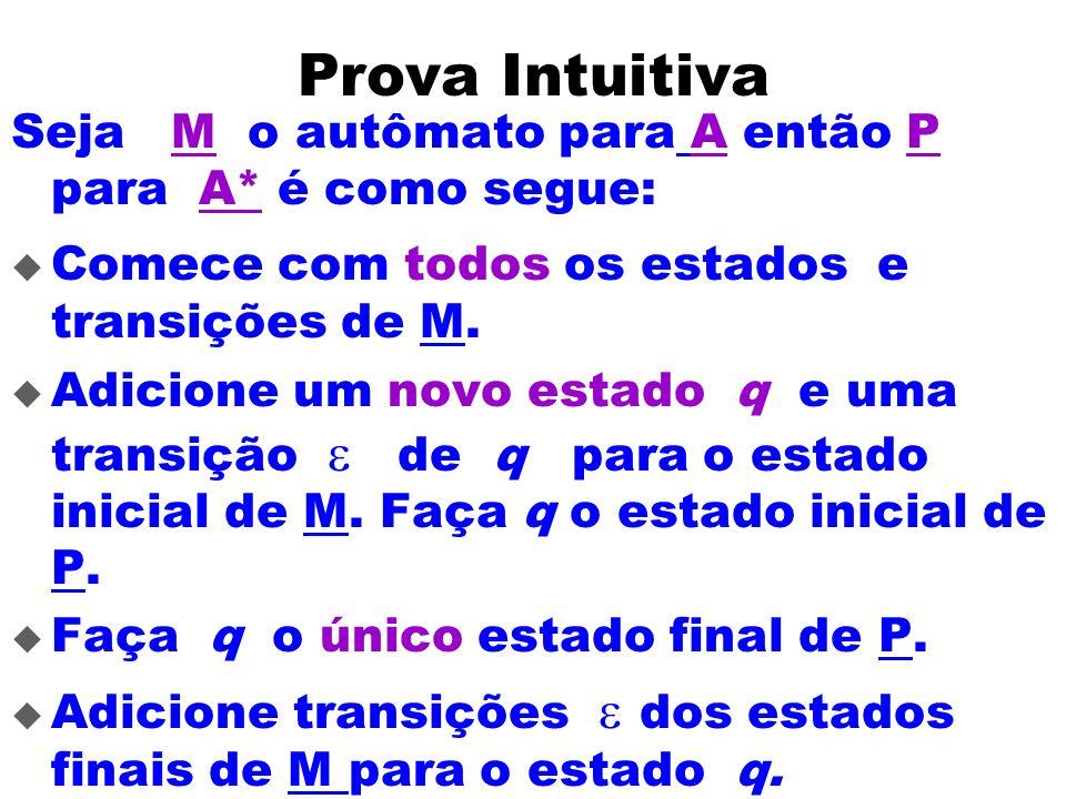 Prova Intuitiva Seja M o autômato para A então P para A* é como segue:
