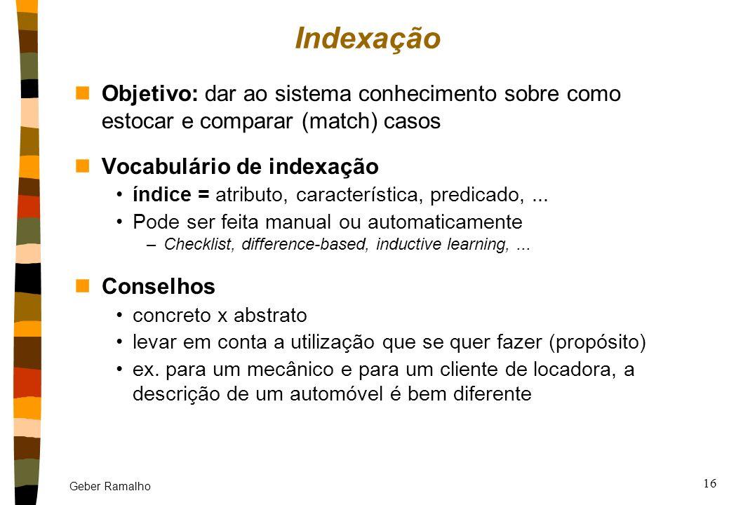 Indexação Objetivo: dar ao sistema conhecimento sobre como estocar e comparar (match) casos. Vocabulário de indexação.