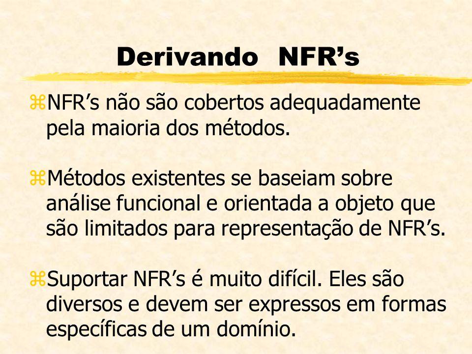 Derivando NFR's NFR's não são cobertos adequadamente pela maioria dos métodos.