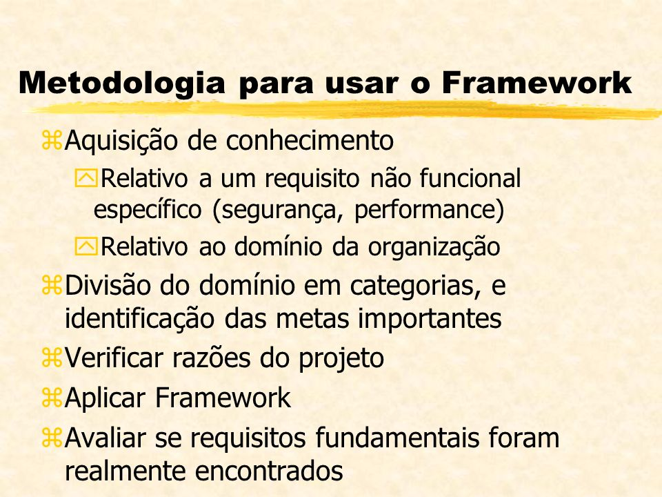 Metodologia para usar o Framework