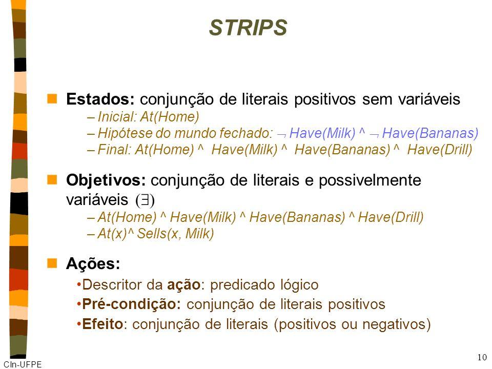STRIPS Estados: conjunção de literais positivos sem variáveis