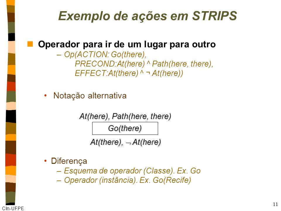 Exemplo de ações em STRIPS