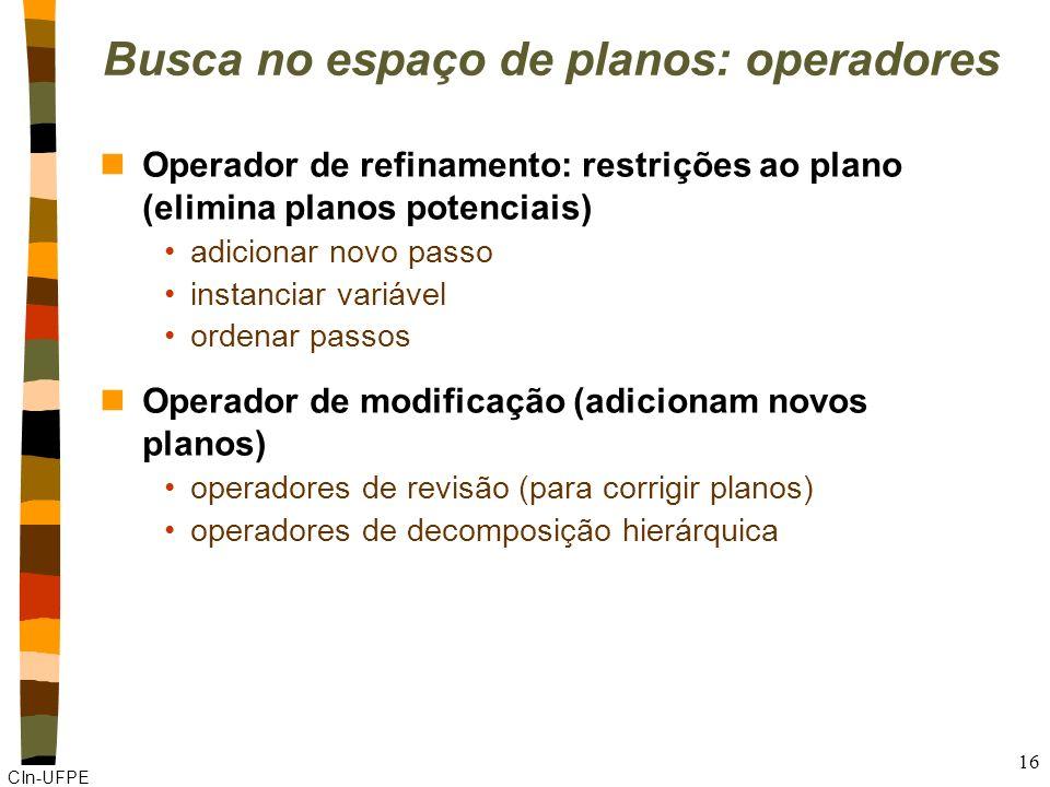 Busca no espaço de planos: operadores
