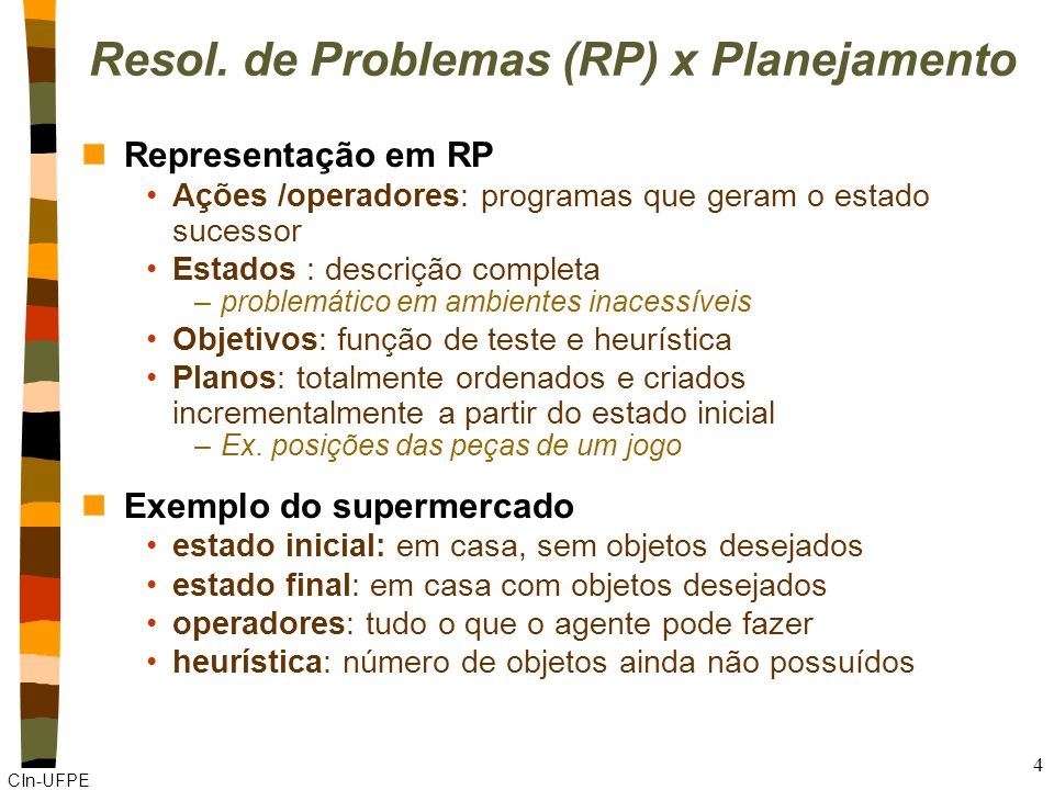 Resol. de Problemas (RP) x Planejamento