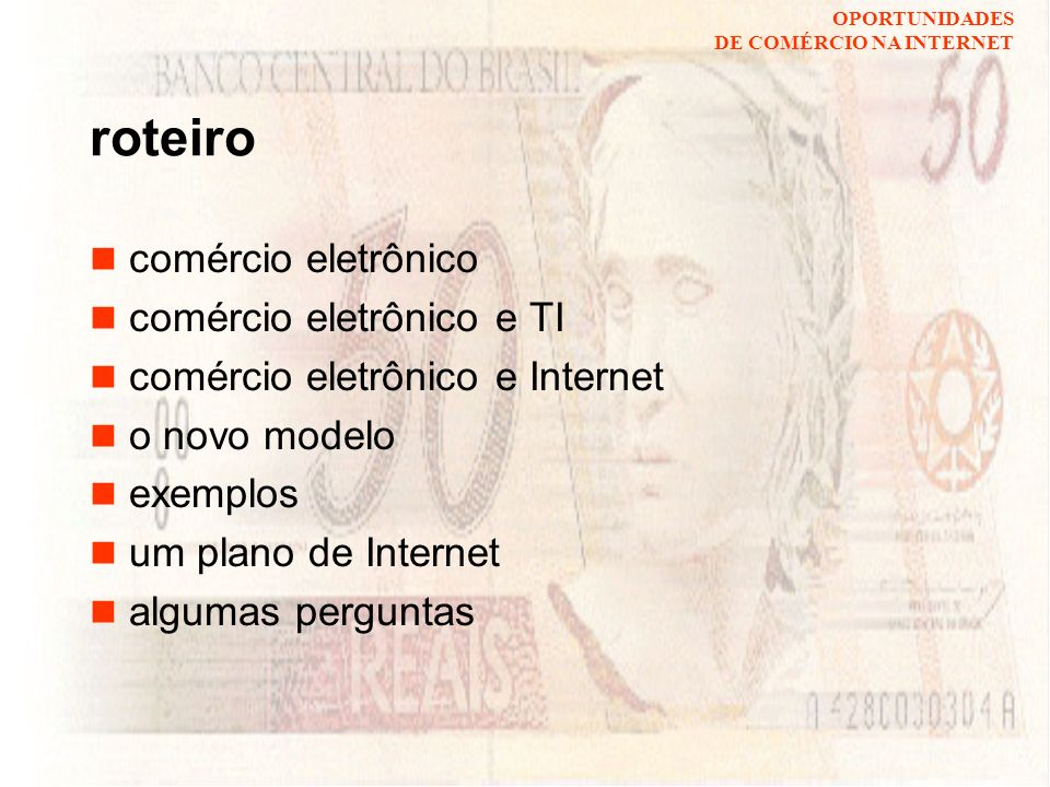 roteiro comércio eletrônico comércio eletrônico e TI
