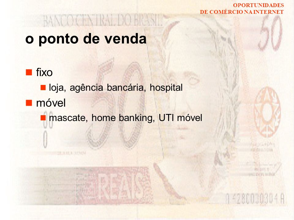 o ponto de venda fixo móvel loja, agência bancária, hospital