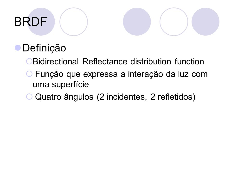 BRDF Definição Bidirectional Reflectance distribution function