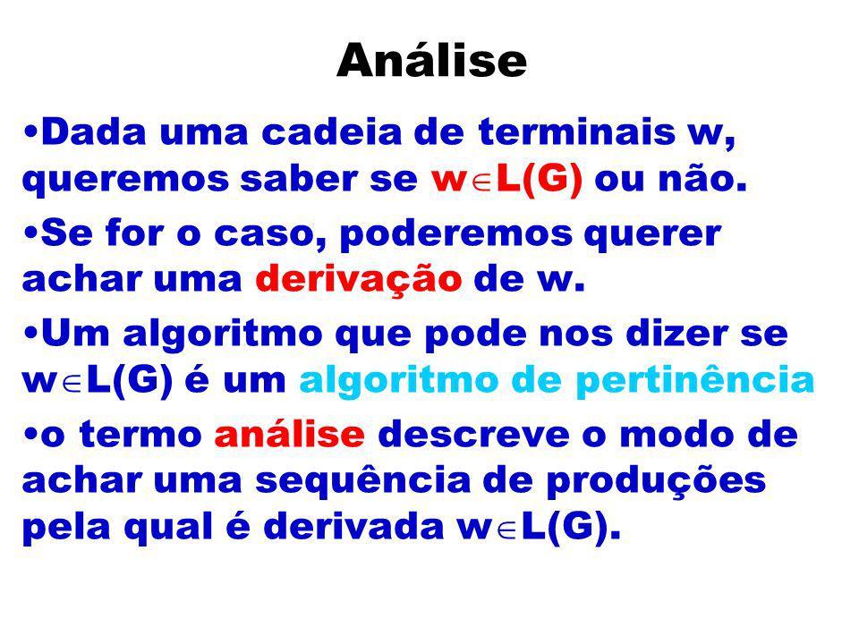 AnáliseDada uma cadeia de terminais w, queremos saber se wL(G) ou não. Se for o caso, poderemos querer achar uma derivação de w.