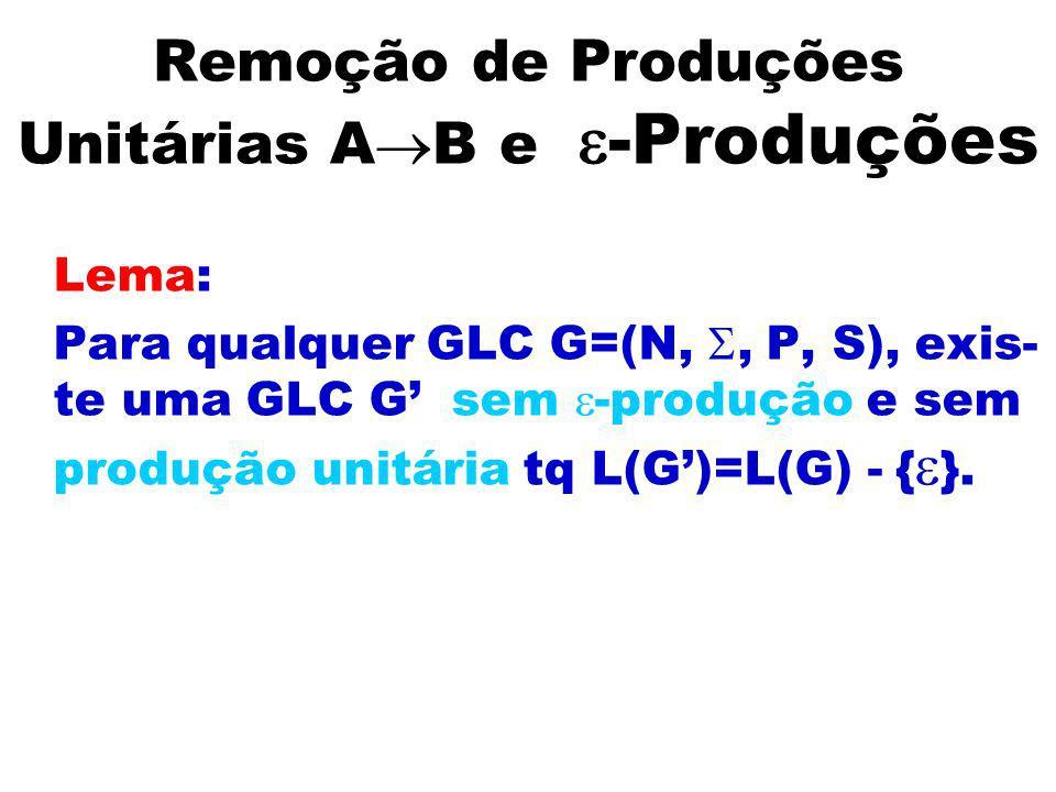 Remoção de Produções Unitárias AB e -Produções