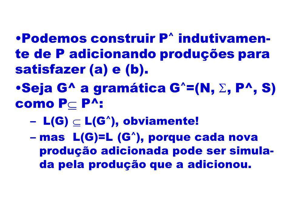 Seja G^ a gramática G^=(N, , P^, S) como P P^: