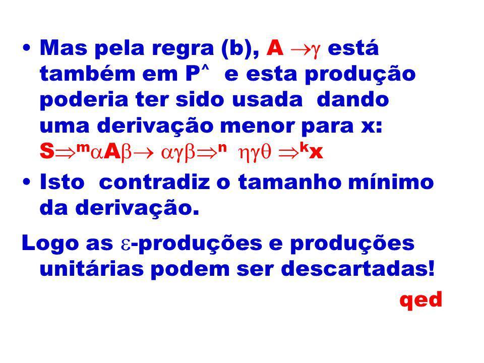 Mas pela regra (b), A  está também em P^ e esta produção poderia ter sido usada dando uma derivação menor para x: SmA n  kx