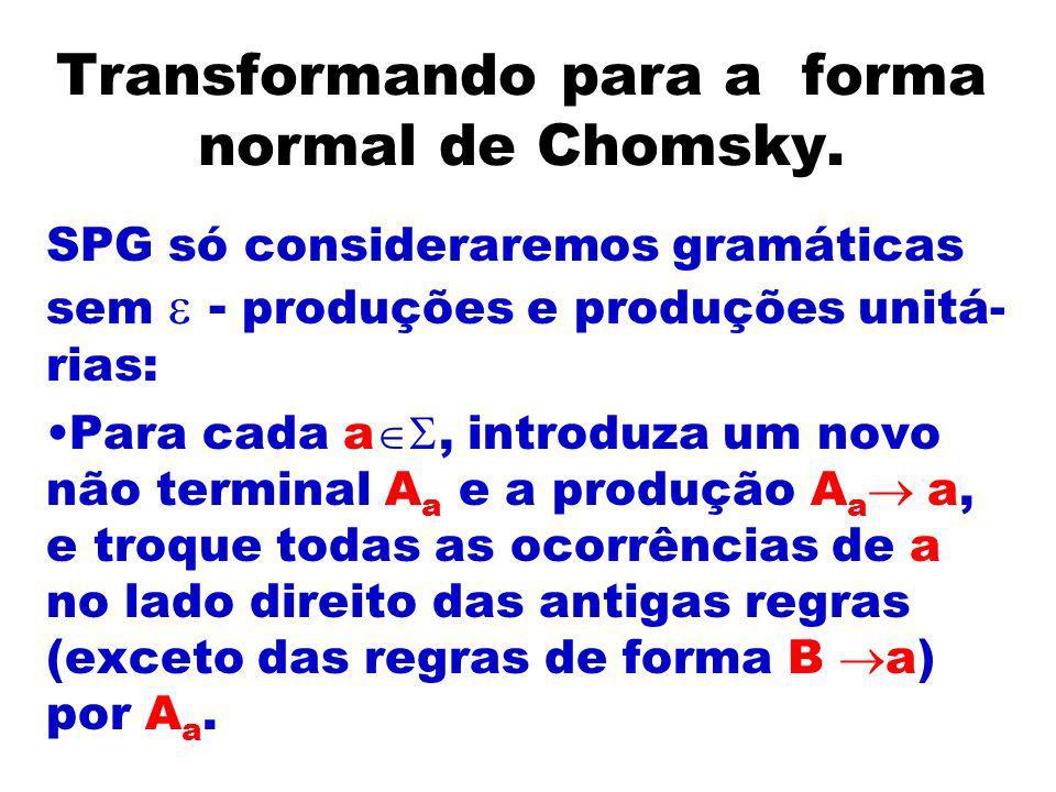 Transformando para a forma normal de Chomsky.