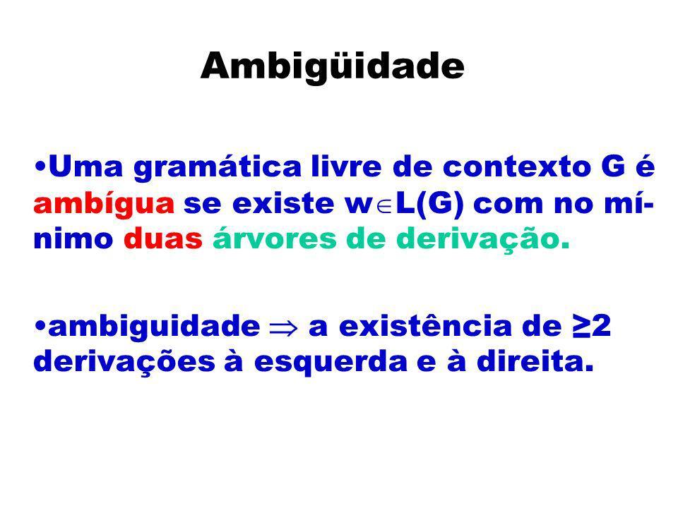 AmbigüidadeUma gramática livre de contexto G é ambígua se existe wL(G) com no mí-nimo duas árvores de derivação.